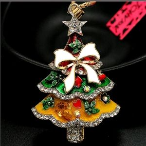 New Betsey Johnson Christmas Tree Necklace